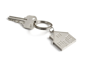 metal key with house key ring